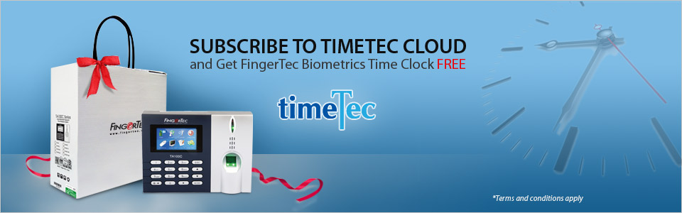 Subscribe to TIMETEC CLOUD and Get FingerTec Biometrics Time Clock FREE