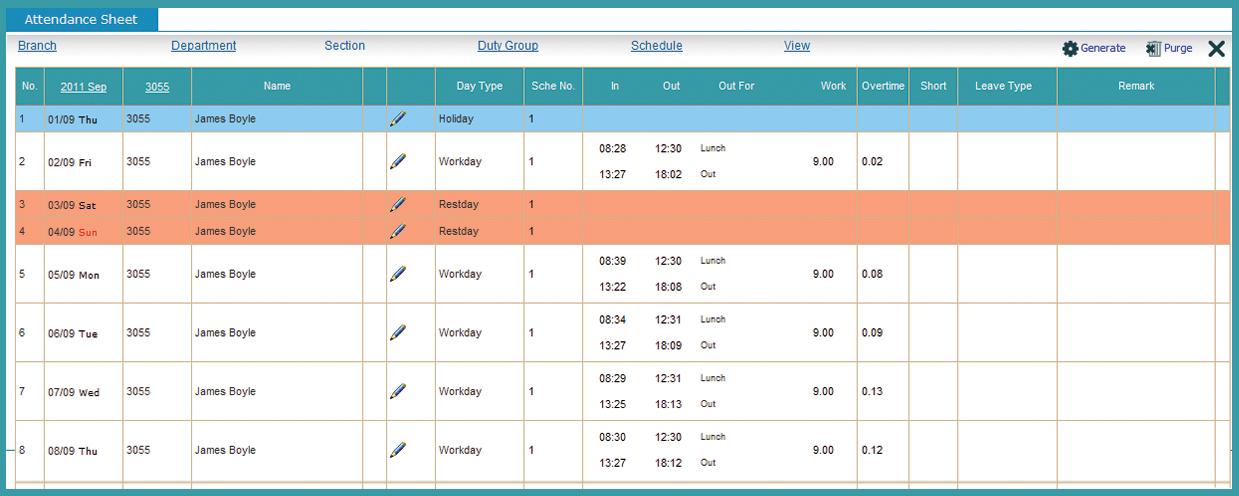 monthly attendance calendar